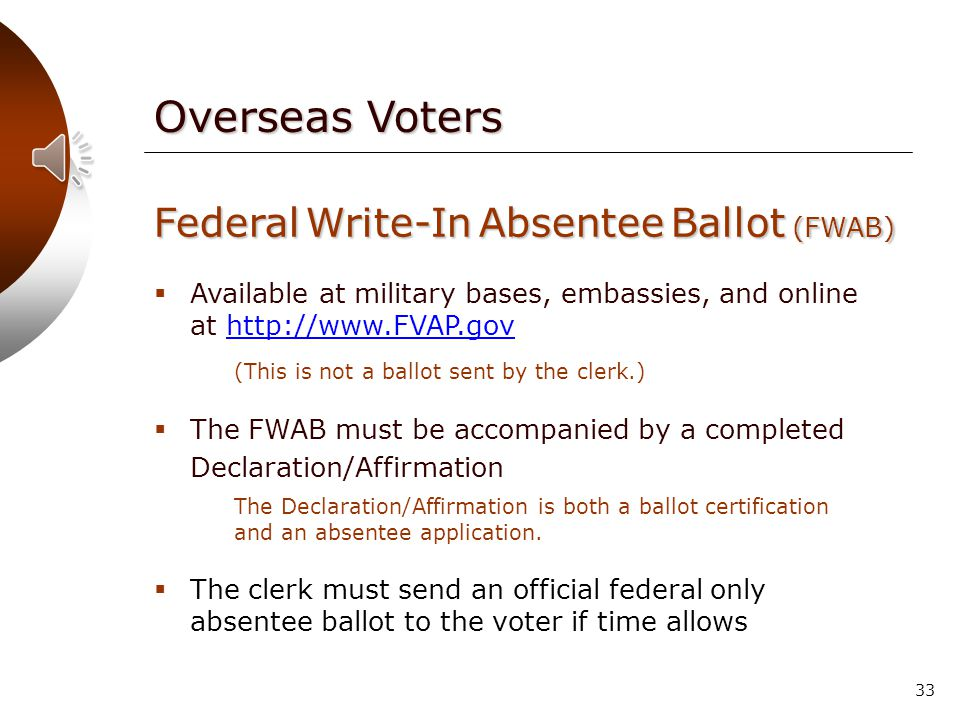 32 Duration of Requests One absentee ballot request is valid for all elections within the calendar year in which the request was made.