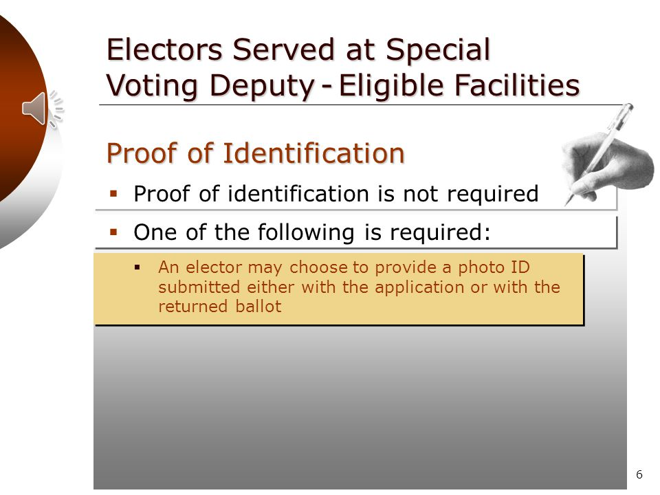 5  Proof of identification is not required Electors Served at Special Voting Deputy - Eligible Facilities Proof of Identification