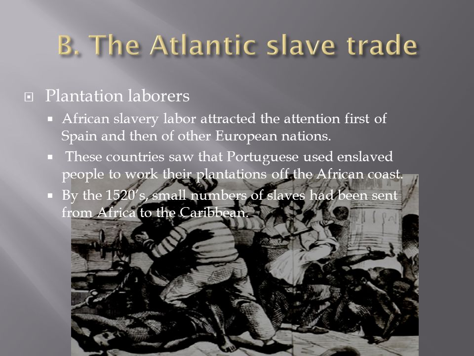  Plantation laborers  African slavery labor attracted the attention first of Spain and then of other European nations.  These countries saw that Po