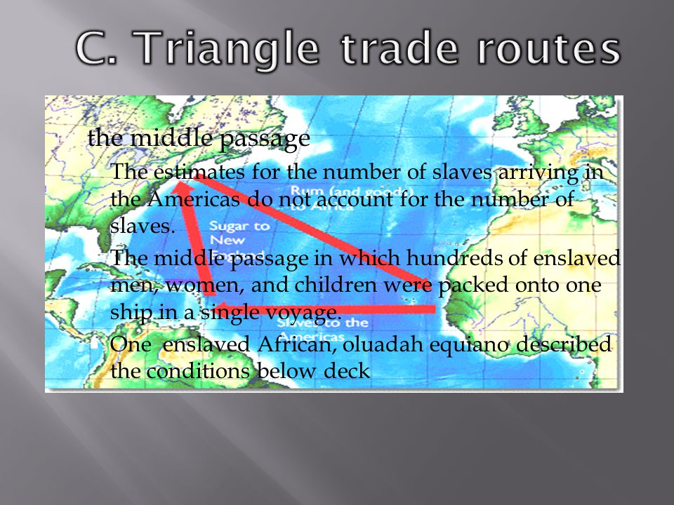  the middle passage  The estimates for the number of slaves arriving in the Americas do not account for the number of slaves.  The middle passage i