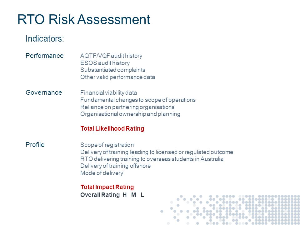 RTO Risk Assessment Performance AQTF/VQF audit history ESOS audit history Substantiated complaints Other valid performance data Governance Financial viability data Fundamental changes to scope of operations Reliance on partnering organisations Organisational ownership and planning Total Likelihood Rating Profile Scope of registration Delivery of training leading to licensed or regulated outcome RTO delivering training to overseas students in Australia Delivery of training offshore Mode of delivery Total Impact Rating Overall Rating H M L Indicators: