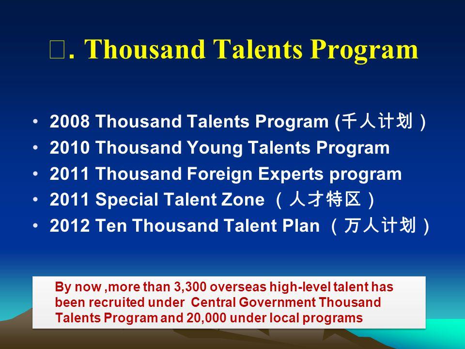 2008 Thousand Talents Program ( 千人计划) 2010 Thousand Young Talents Program 2011 Thousand Foreign Experts program 2011 Special Talent Zone (人才特区) 2012 T