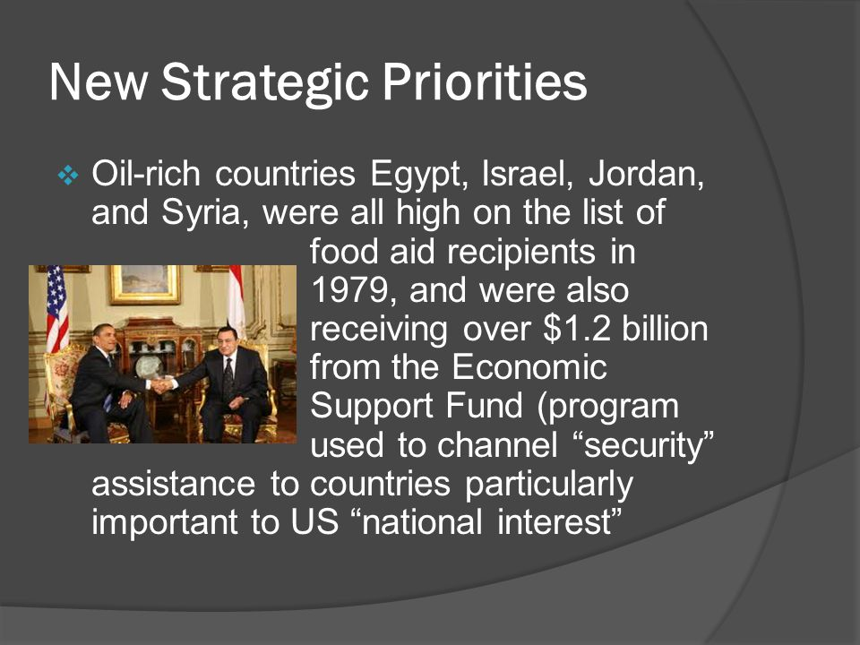 New Strategic Priorities  Oil-rich countries Egypt, Israel, Jordan, and Syria, were all high on the list of food aid recipients in 1979, and were also receiving over $1.2 billion from the Economic Support Fund (program used to channel security assistance to countries particularly important to US national interest