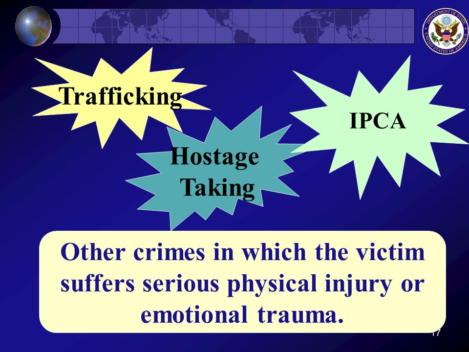 17 Hostage Taking IPCA Trafficking Other crimes in which the victim suffers serious physical injury or emotional trauma.