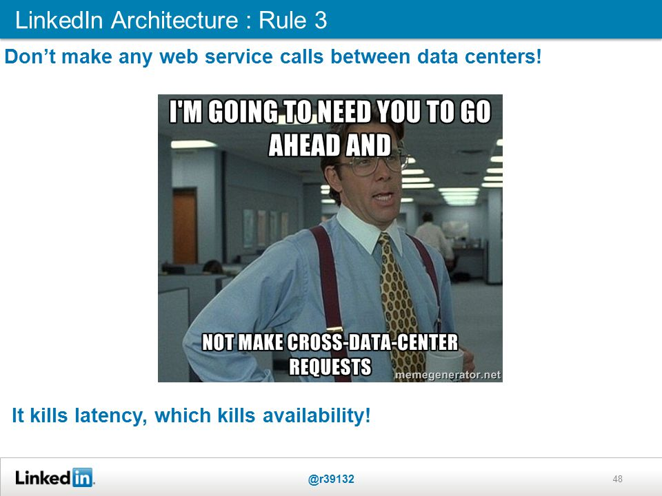 LinkedIn Architecture : Rule 3 @r39132 48 Don't make any web service calls between data centers.