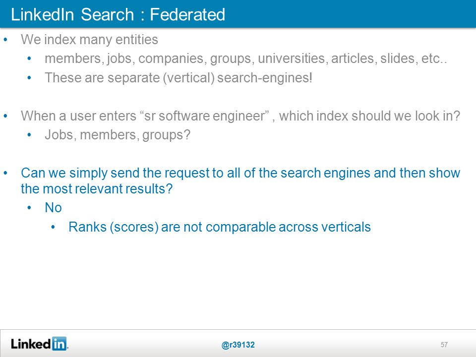 LinkedIn Search : Federated @r39132 57 We index many entities members, jobs, companies, groups, universities, articles, slides, etc..