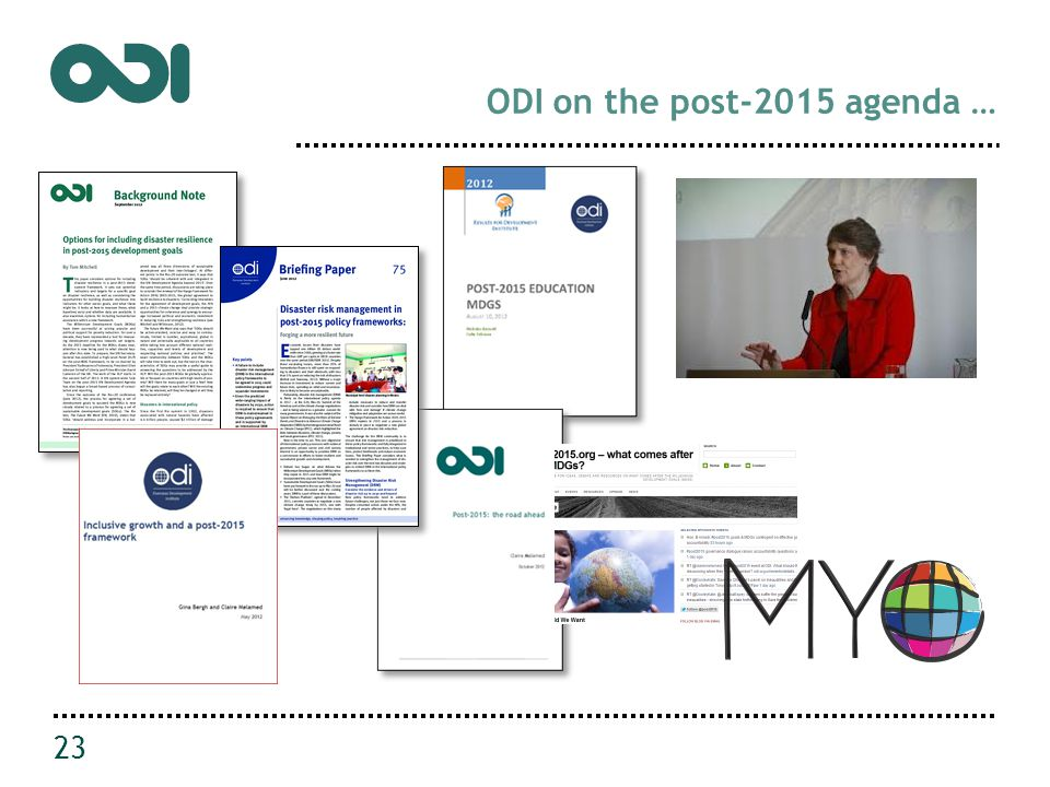 ODI on the post-2015 agenda … 23