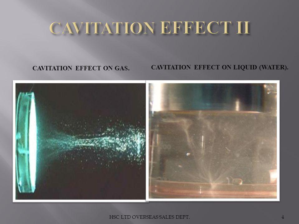 CAVITATION EFFECT ON GAS. CAVITATION EFFECT ON LIQUID (WATER). 4HSC LTD OVERSEAS SALES DEPT.