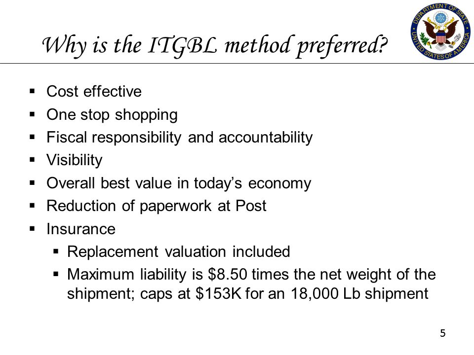 55 Why is the ITGBL method preferred?  Cost effective  One stop shopping  Fiscal responsibility and accountability  Visibility  Overall best valu