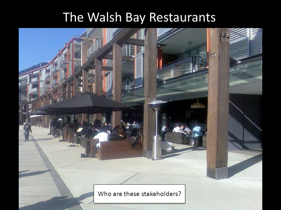 The Walsh Bay Restaurants Who are these stakeholders