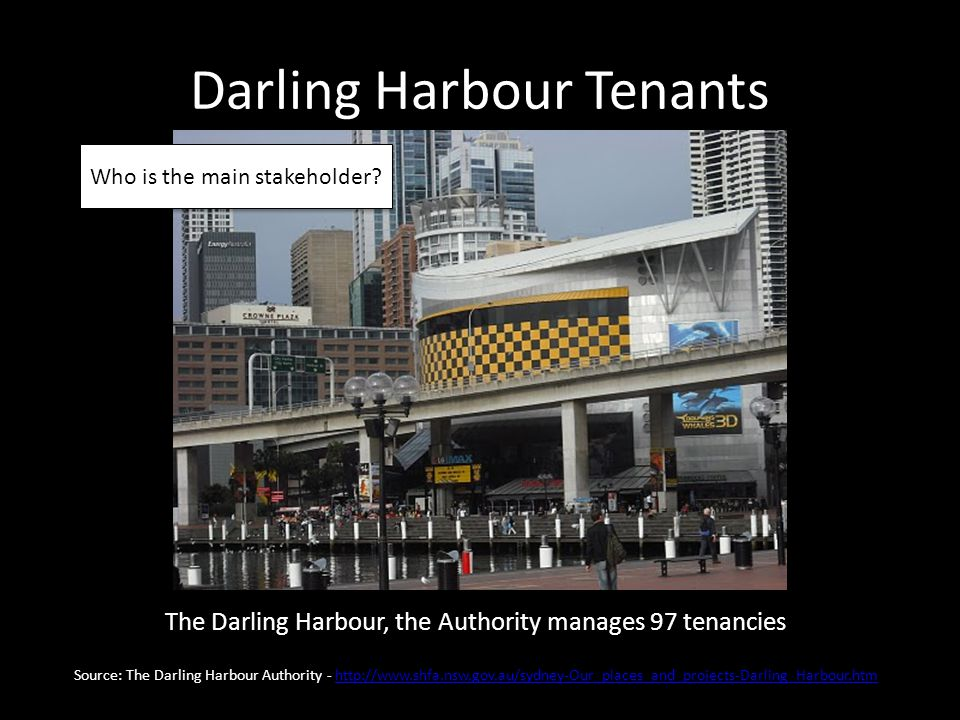 Darling Harbour Tenants The Darling Harbour, the Authority manages 97 tenancies Source: The Darling Harbour Authority - http://www.shfa.nsw.gov.au/sydney-Our_places_and_projects-Darling_Harbour.htmhttp://www.shfa.nsw.gov.au/sydney-Our_places_and_projects-Darling_Harbour.htm Who is the main stakeholder