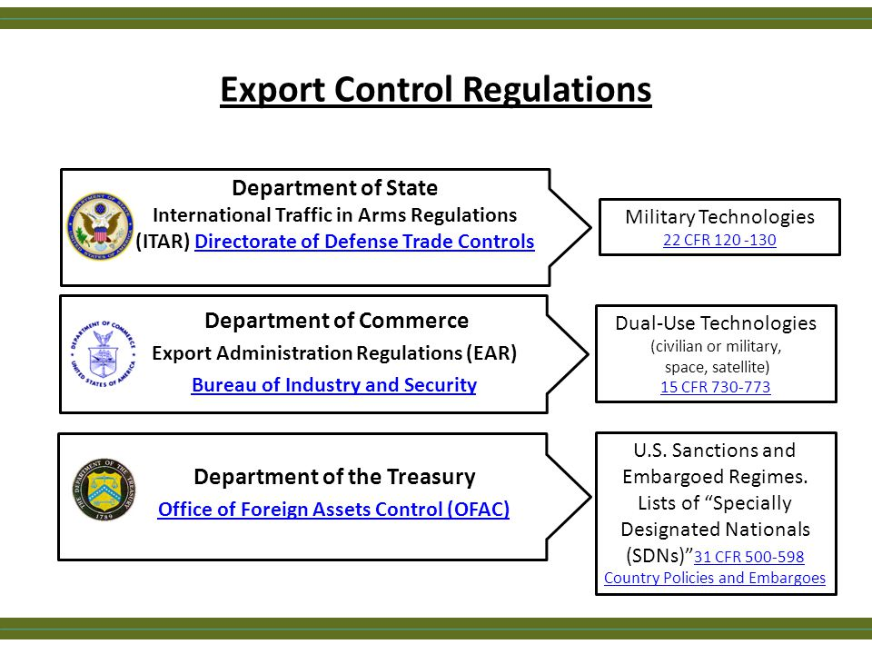 Export Control Regulations Dual-Use Technologies (civilian or military, space, satellite) 15 CFR 730-773 Department of Commerce Export Administration Regulations (EAR) Bureau of Industry and Security Military Technologies 22 CFR 120 -130 Department of State International Traffic in Arms Regulations (ITAR) Directorate of Defense Trade ControlsDirectorate of Defense Trade Controls Department of the Treasury Office of Foreign Assets Control (OFAC) U.S.