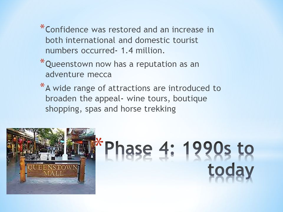 * Confidence was restored and an increase in both international and domestic tourist numbers occurred- 1.4 million.