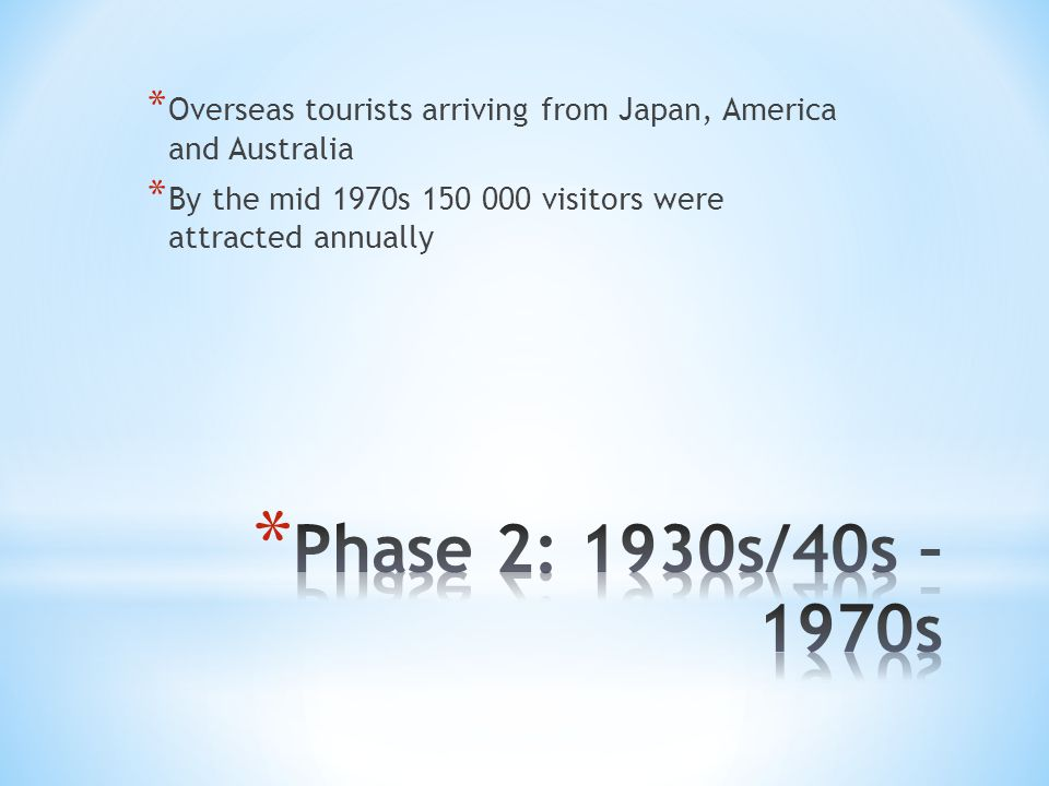 * Overseas tourists arriving from Japan, America and Australia * By the mid 1970s 150 000 visitors were attracted annually