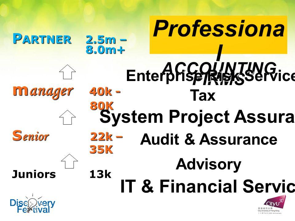 P ARTNER 2.5m – 8.0m+ m anager 40k - 80K 80K S enior 22k – 35K 35K Juniors13k Juniors 13k Audit & Assurance Tax Advisory IT & Financial Services Enterprise Risk Service System Project Assurance