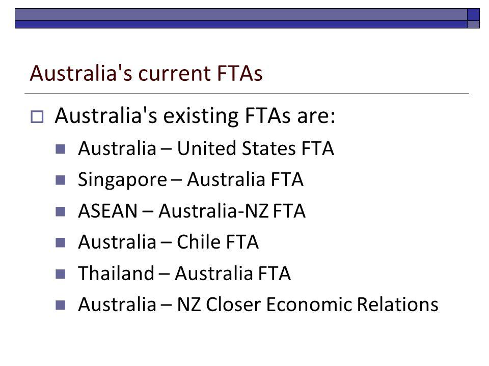 Australia's current FTAs  Australia's existing FTAs are: Australia – United States FTA Singapore – Australia FTA ASEAN – Australia-NZ FTA Australia –