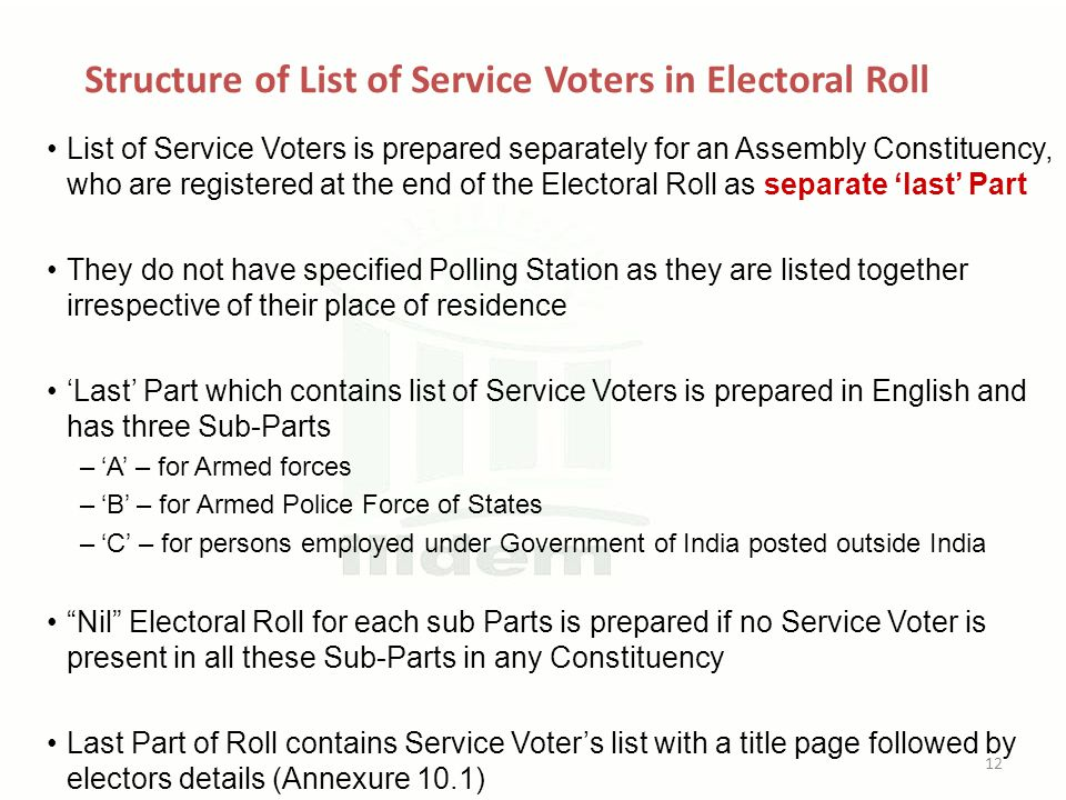 Structure of List of Service Voters in Electoral Roll List of Service Voters is prepared separately for an Assembly Constituency, who are registered at the end of the Electoral Roll as separate 'last' Part They do not have specified Polling Station as they are listed together irrespective of their place of residence 'Last' Part which contains list of Service Voters is prepared in English and has three Sub-Parts –'A' – for Armed forces –'B' – for Armed Police Force of States –'C' – for persons employed under Government of India posted outside India Nil Electoral Roll for each sub Parts is prepared if no Service Voter is present in all these Sub-Parts in any Constituency Last Part of Roll contains Service Voter's list with a title page followed by electors details (Annexure 10.1) 12