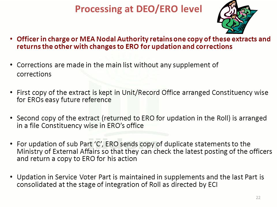 Processing at DEO/ERO level Officer in charge or MEA Nodal Authority retains one copy of these extracts and returns the other with changes to ERO for updation and corrections Corrections are made in the main list without any supplement of corrections First copy of the extract is kept in Unit/Record Office arranged Constituency wise for EROs easy future reference Second copy of the extract (returned to ERO for updation in the Roll) is arranged in a file Constituency wise in ERO's office For updation of sub Part 'C', ERO sends copy of duplicate statements to the Ministry of External Affairs so that they can check the latest posting of the officers and return a copy to ERO for his action Updation in Service Voter Part is maintained in supplements and the last Part is consolidated at the stage of integration of Roll as directed by ECI 22