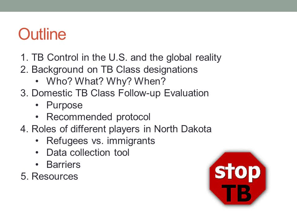 Outline 1.TB Control in the U.S. and the global reality 2.Background on TB Class designations Who.