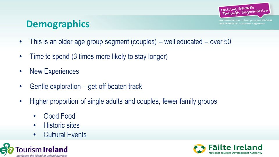 Demographics This is an older age group segment (couples) – well educated – over 50 Time to spend (3 times more likely to stay longer) New Experiences
