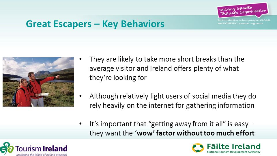 Great Escapers – Key Behaviors They are likely to take more short breaks than the average visitor and Ireland offers plenty of what they're looking fo