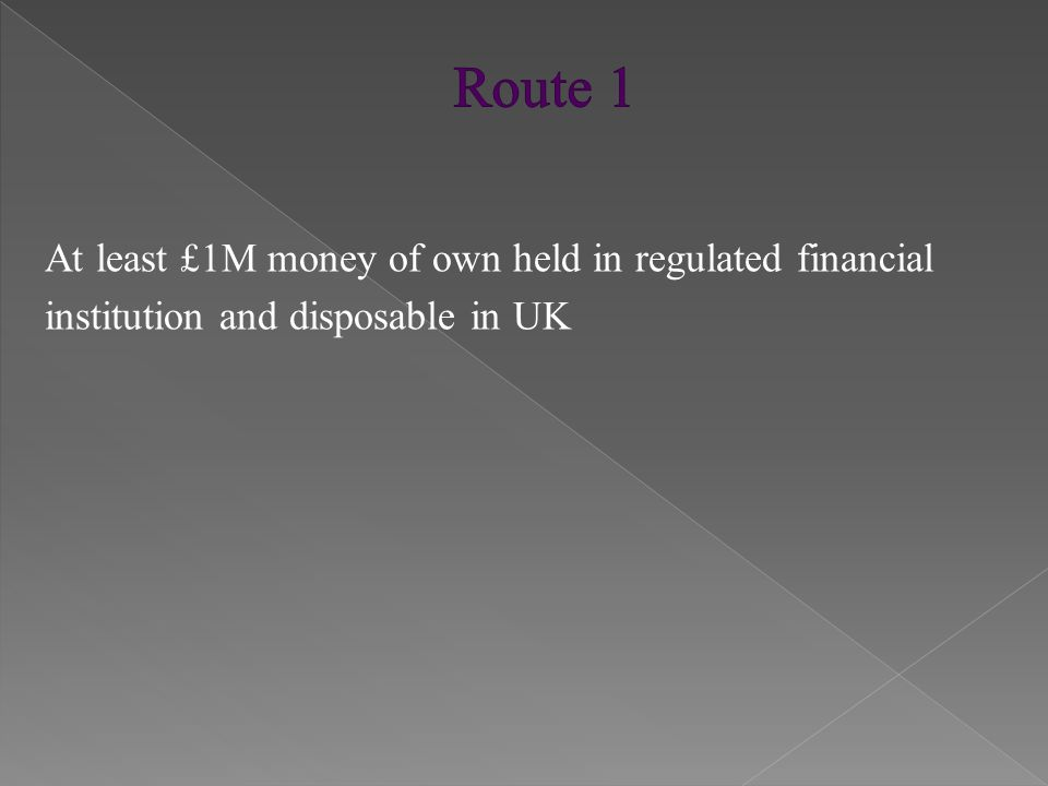 At least £1M money of own held in regulated financial institution and disposable in UK