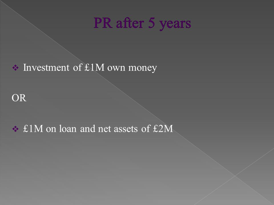  Investment of £1M own money OR  £1M on loan and net assets of £2M