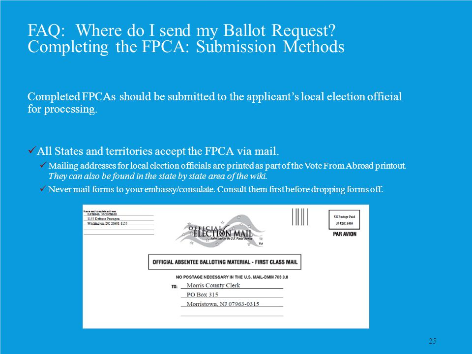 25 FAQ: Where do I send my Ballot Request? Completing the FPCA: Submission Methods Completed FPCAs should be submitted to the applicant's local electi