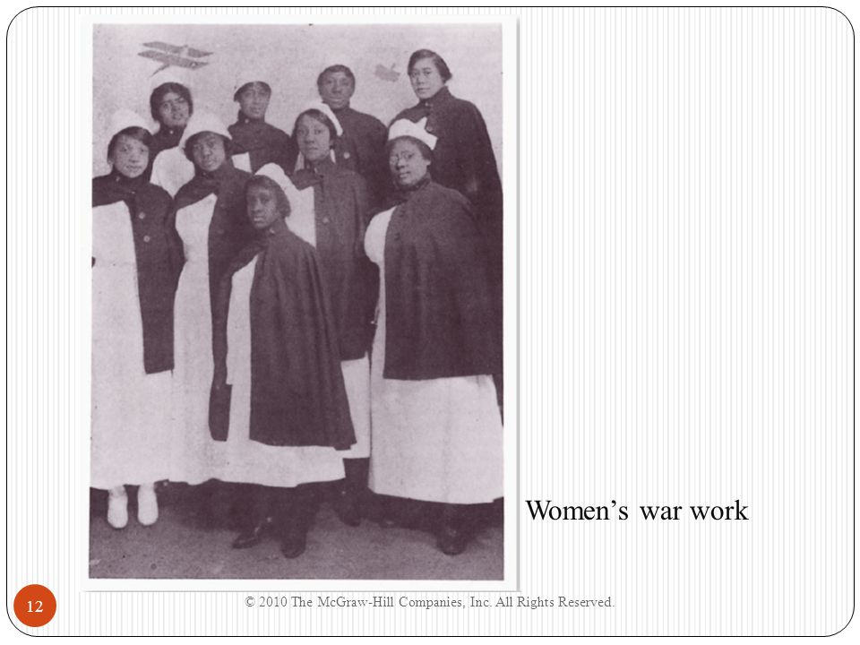 © 2010 The McGraw-Hill Companies, Inc. All Rights Reserved. 12 Women's war work