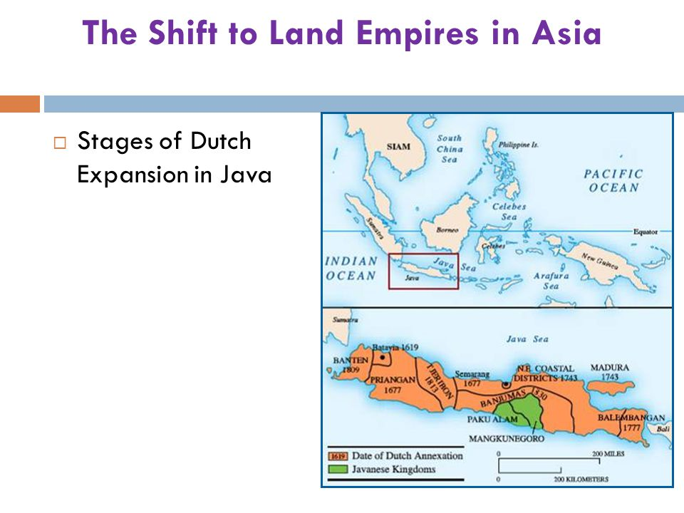 The Shift to Land Empires in Asia  Stages of Dutch Expansion in Java