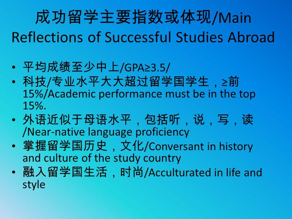 成功留学主要指数或体现 /Main Reflections of Successful Studies Abroad 平均成绩至少中上 /GPA≥3.5/ 科技 / 专业水平大大超过留学国学生, ≥ 前 15%/Academic performance must be in the top 15%.