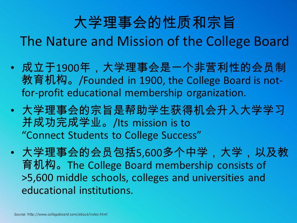 大学理事会的性质和宗旨 The Nature and Mission of the College Board 成立于 1900 年,大学理事会是一个非营利性的会员制 教育机构。 /Founded in 1900, the College Board is not- for-profit educa