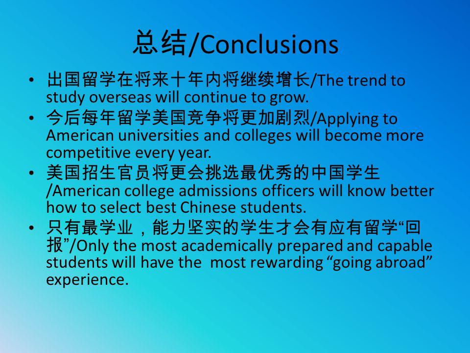 总结 /Conclusions 出国留学在将来十年内将继续增长 /The trend to study overseas will continue to grow. 今后每年留学美国竞争将更加剧烈 /Applying to American universities and colleges wi