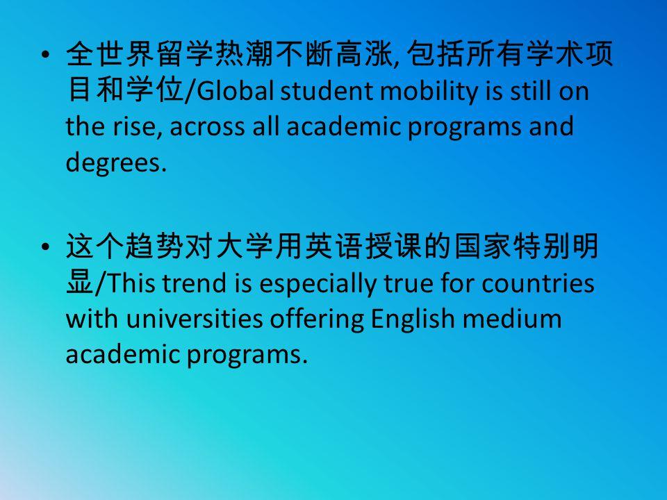 全世界留学热潮不断高涨, 包括所有学术项 目和学位 /Global student mobility is still on the rise, across all academic programs and degrees. 这个趋势对大学用英语授课的国家特别明 显 /This trend is
