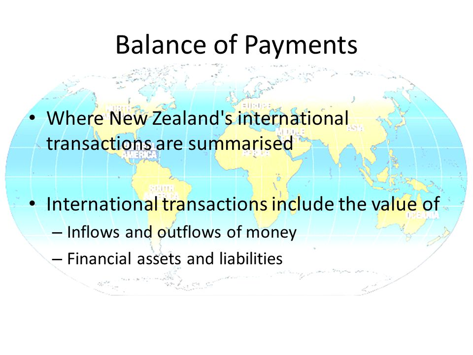 Balance of Payments Where New Zealand s international transactions are summarised International transactions include the value of – Inflows and outflows of money – Financial assets and liabilities