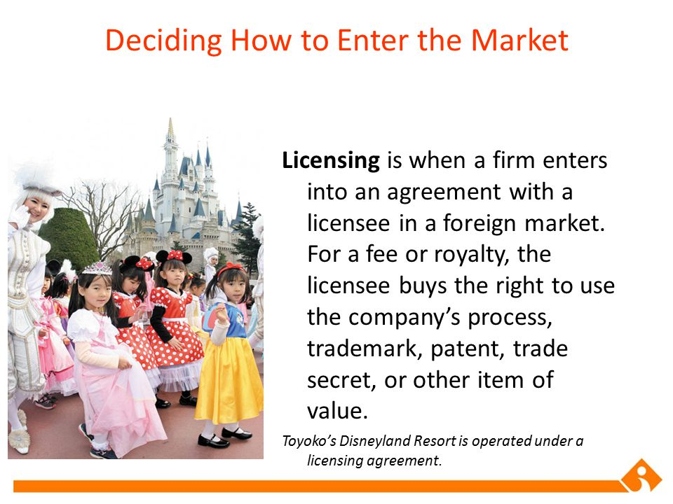 Deciding How to Enter the Market Licensing is when a firm enters into an agreement with a licensee in a foreign market. For a fee or royalty, the lice