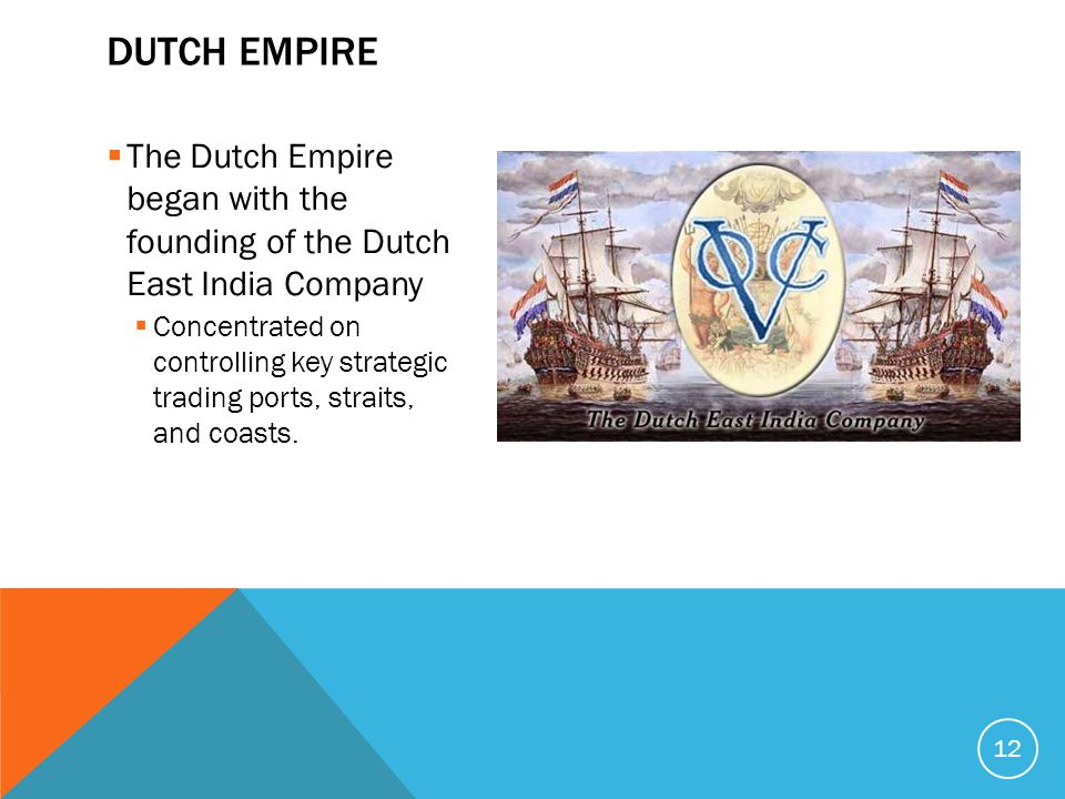  The Dutch Empire began with the founding of the Dutch East India Company  Concentrated on controlling key strategic trading ports, straits, and coasts.