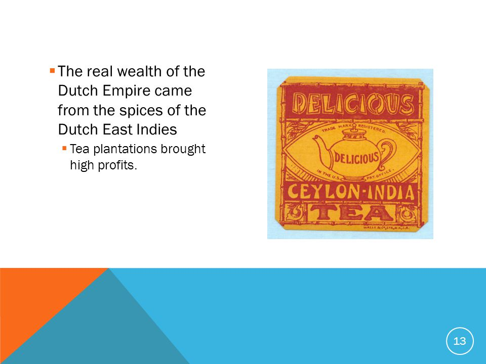 The real wealth of the Dutch Empire came from the spices of the Dutch East Indies  Tea plantations brought high profits.