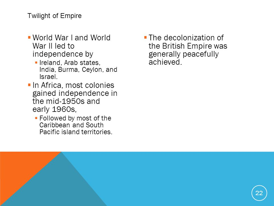  World War I and World War II led to independence by  Ireland, Arab states, India, Burma, Ceylon, and Israel.