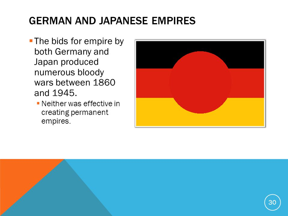  The bids for empire by both Germany and Japan produced numerous bloody wars between 1860 and 1945.
