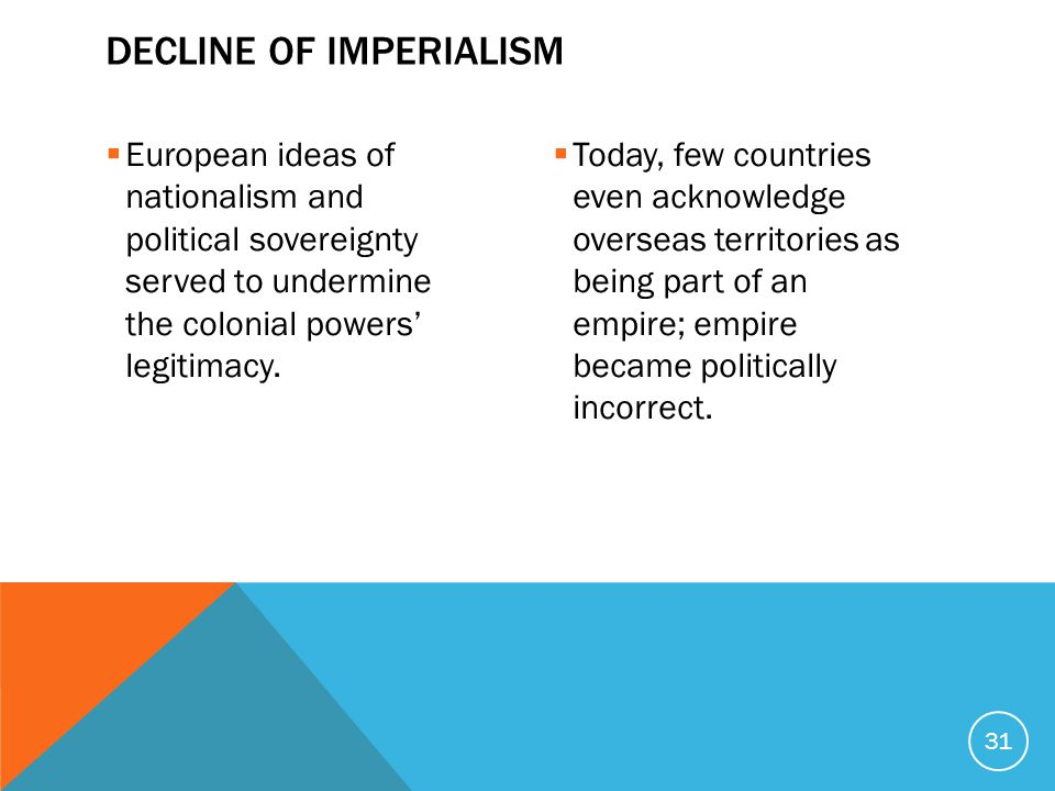  European ideas of nationalism and political sovereignty served to undermine the colonial powers' legitimacy.