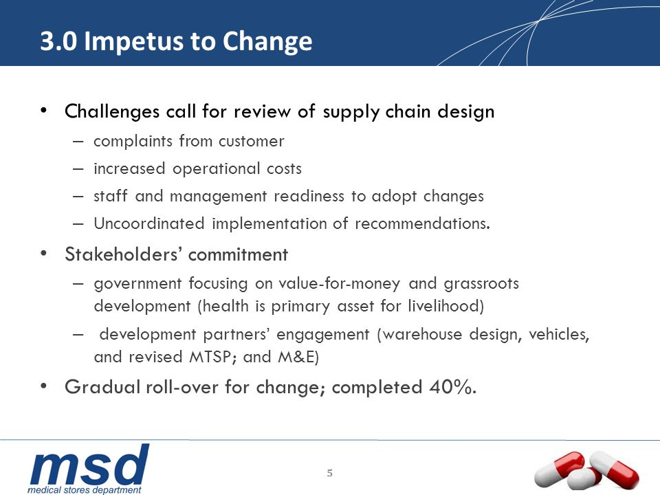 3.0 Impetus to Change Challenges call for review of supply chain design – complaints from customer – increased operational costs – staff and managemen