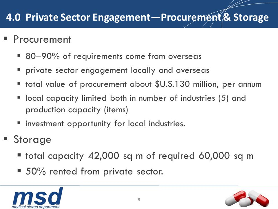 4.1 Private Sector Engagement—Distribution MSD has one of the most complete logistical networks in Africa.