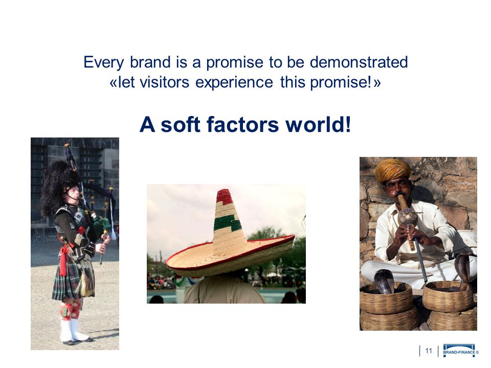 11 Every brand is a promise to be demonstrated «let visitors experience this promise!» A soft factors world!