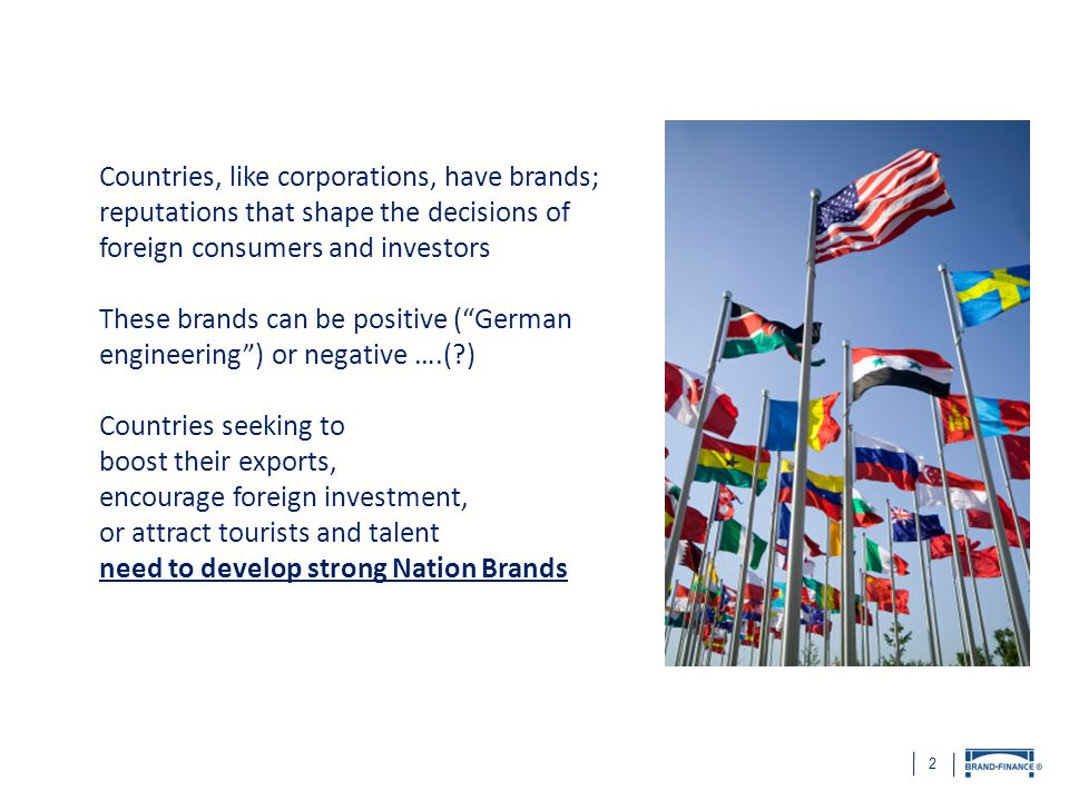 """2 Countries, like corporations, have brands; reputations that shape the decisions of foreign consumers and investors These brands can be positive (""""Ge"""