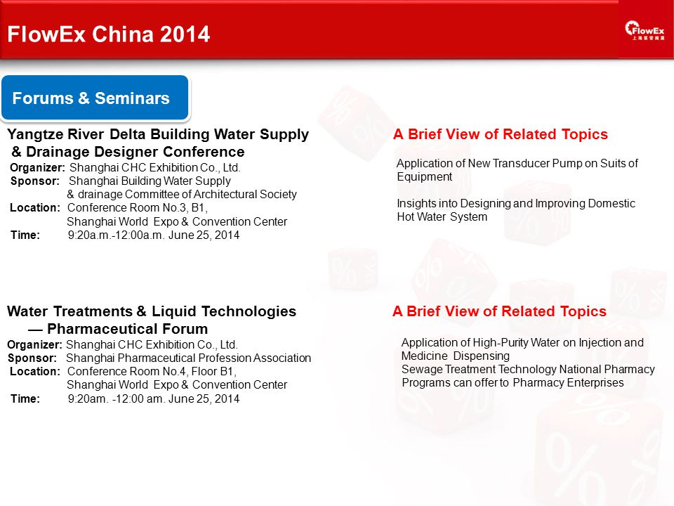 FlowEx China 2014 Forums & Seminars Yangtze River Delta Building Water Supply A Brief View of Related Topics & Drainage Designer Conference Organizer: Shanghai CHC Exhibition Co., Ltd.