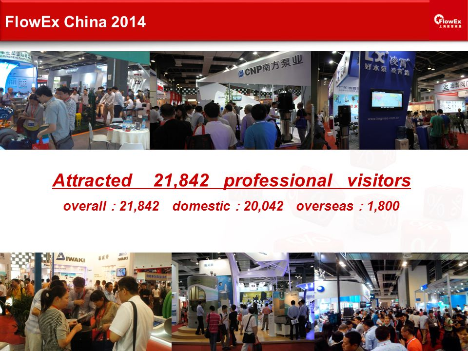 Attracted 21,842 professional visitors overall : 21,842 domestic : 20,042 overseas : 1,800 FlowEx China 2014