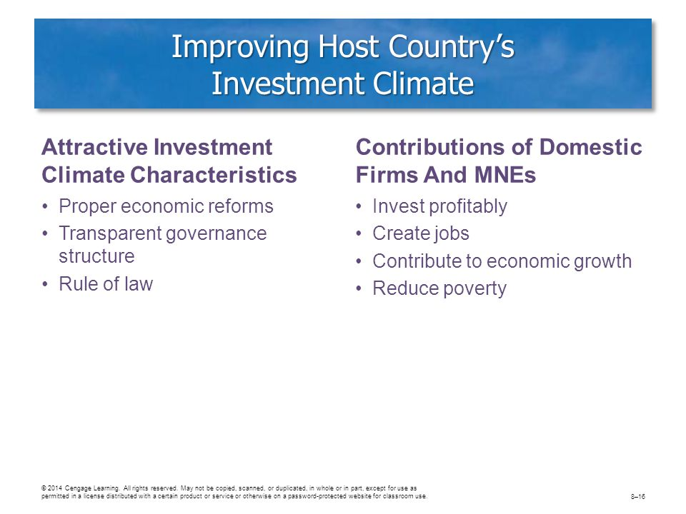 Improving Host Country's Investment Climate Attractive Investment Climate Characteristics Proper economic reforms Transparent governance structure Rul