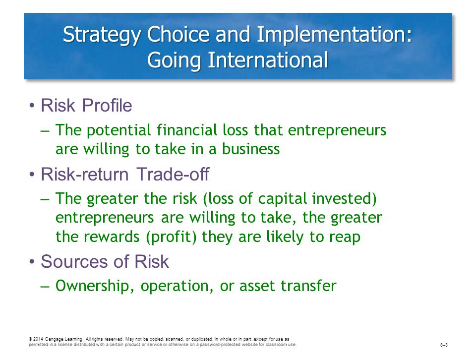Strategy Choice and Implementation: Going International Risk Profile – The potential financial loss that entrepreneurs are willing to take in a busine