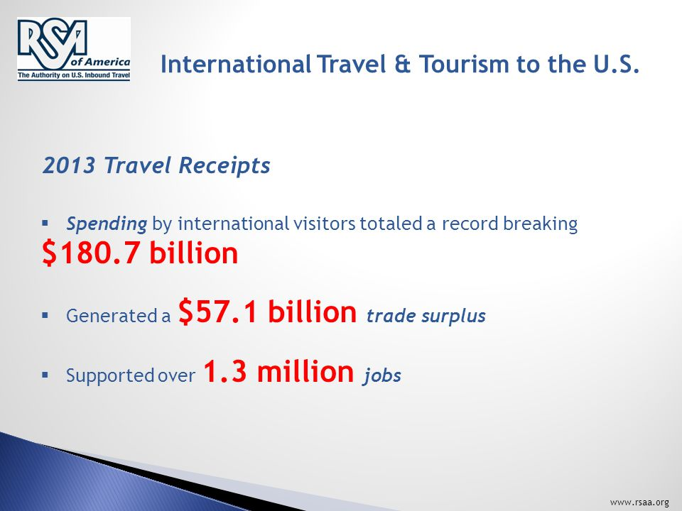Overseas Visitors… www.rsaa.org International vs. Domestic Visitors 4 – 7 times MORE!